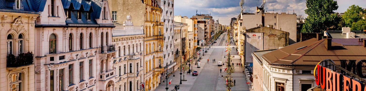 An empty view of Piotrkowska Street in Lodz, Poland