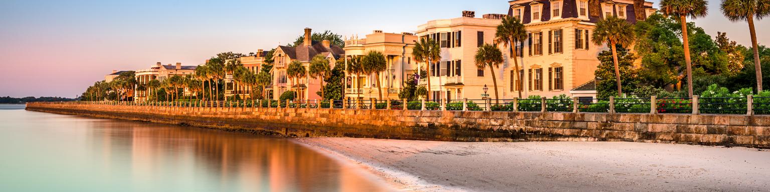 at the historic homes on The Battery in Charleston, South Carolina, USA