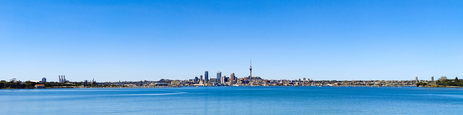 Looking across the harbour at Auckland city