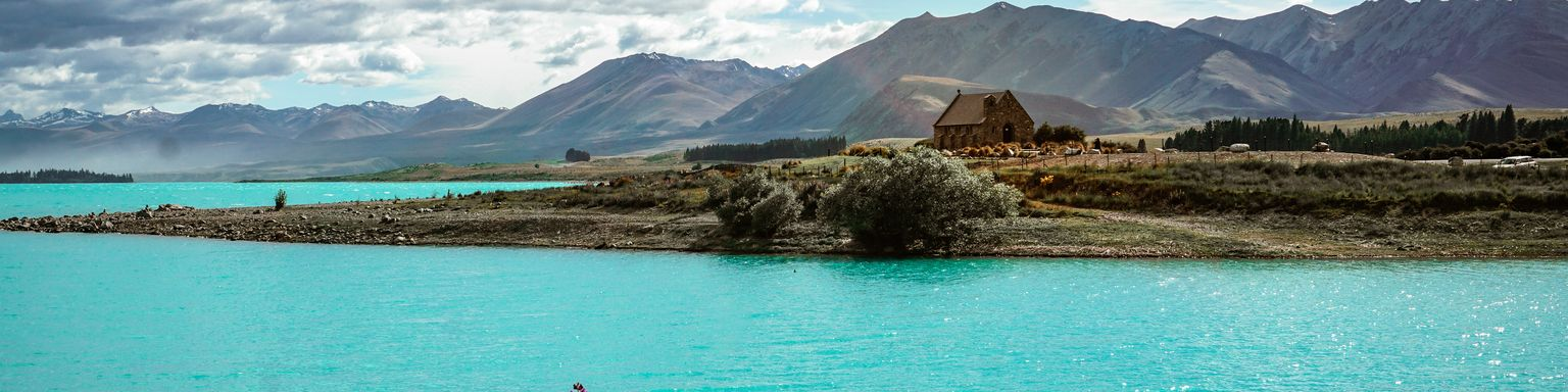 Lake Tekapo with the Church of the Good Shepherd in the distance