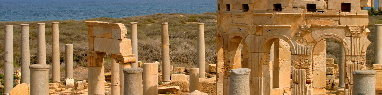 The ruins of the coastal city Leptis Magna in Libya