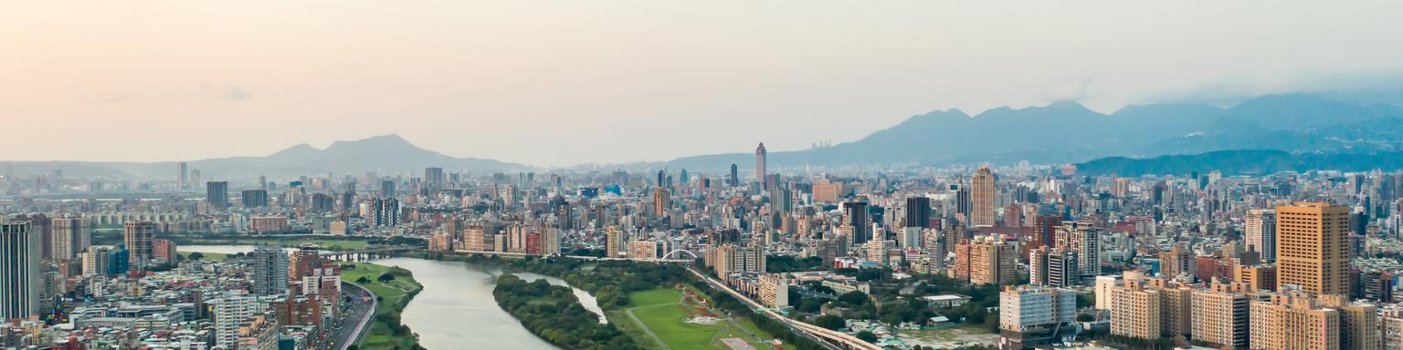 An aerial view of Taipei