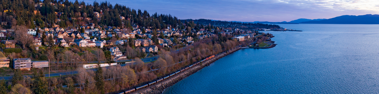 An aerial view of Bellingham, Washington