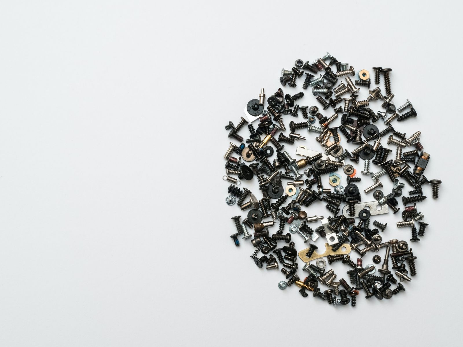 Screws and materials in a white background