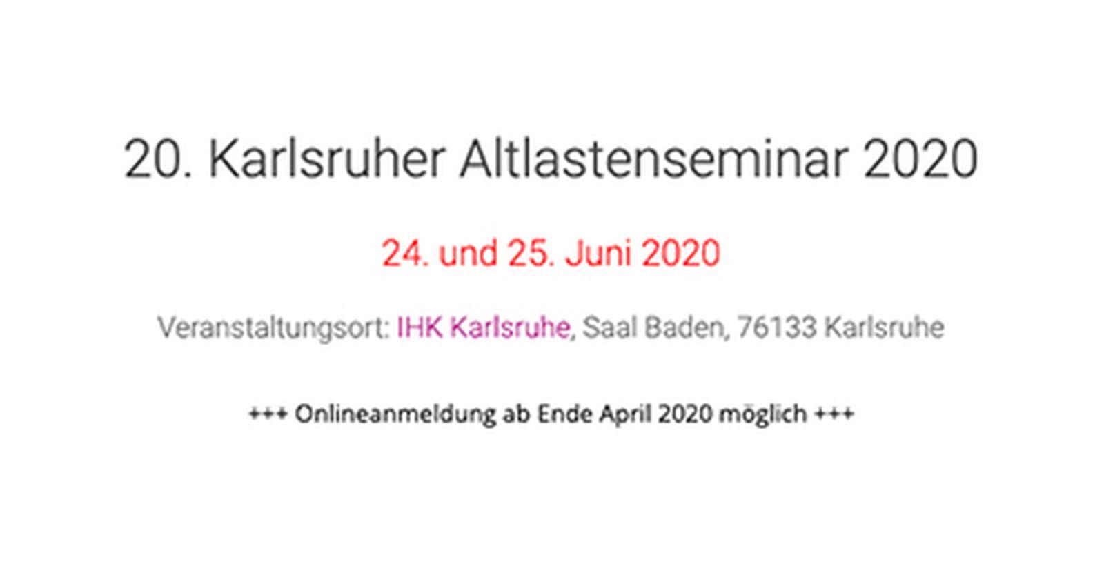 20. Karlsruher Altlastenseminar