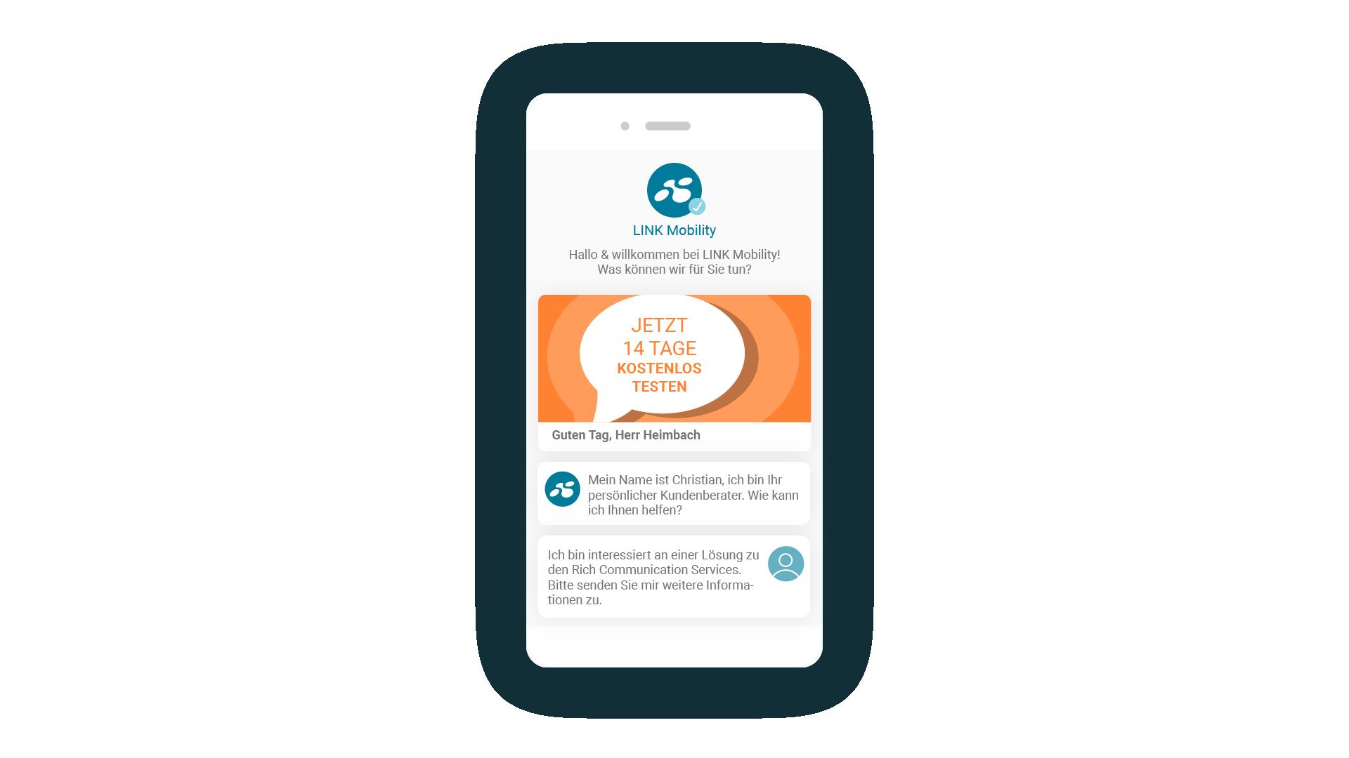 LINK Mobility - RCS Nachricht vom Kundensupport inkl. Werbeaktion