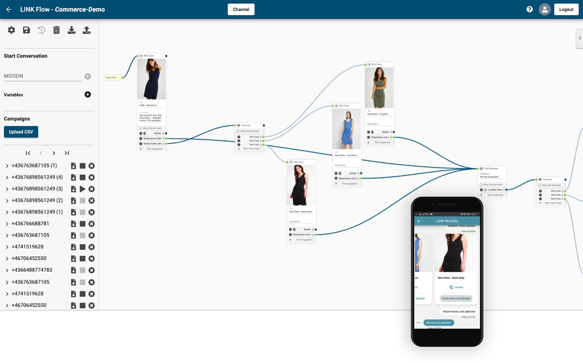 LINK Mobility - einfach einen regelbasierten Chatbot erstellen mit dem LINK Flow Builder