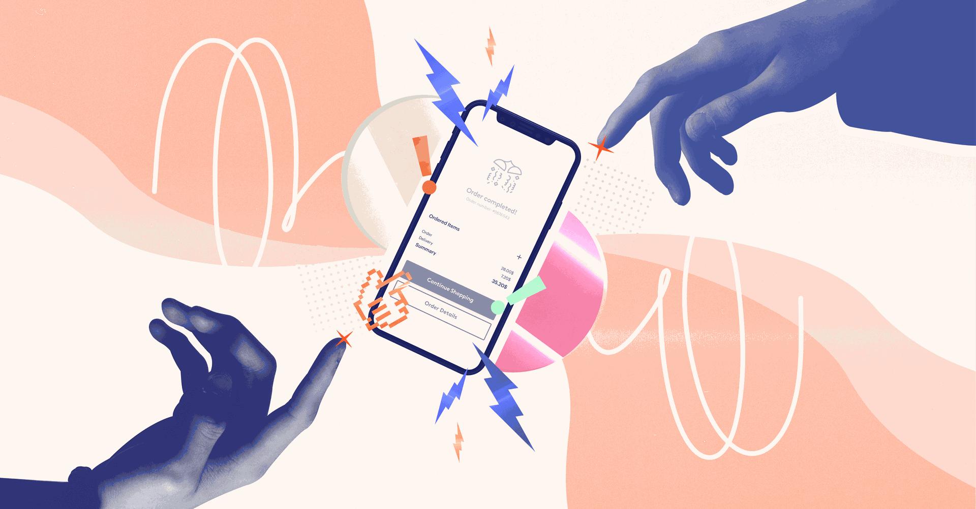 illustration of the mobile checkout UX design
