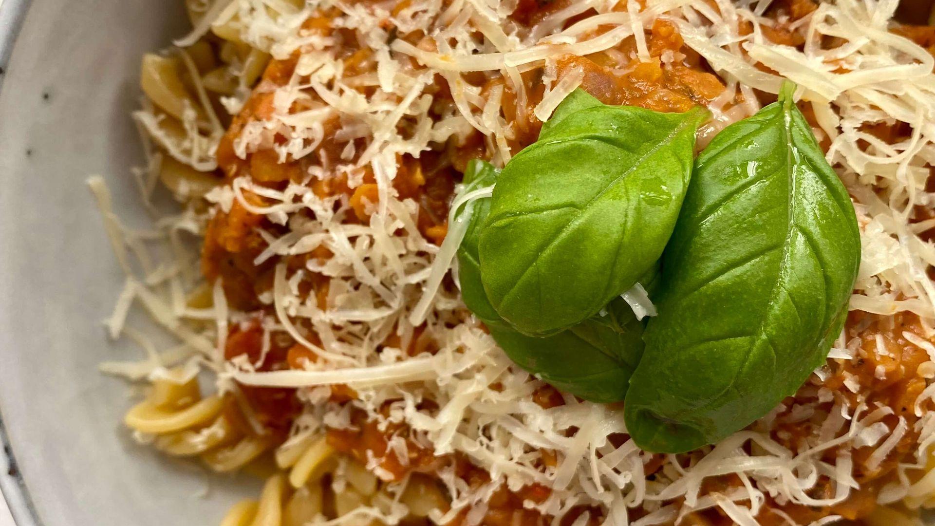 vegetarisk linsebolognese