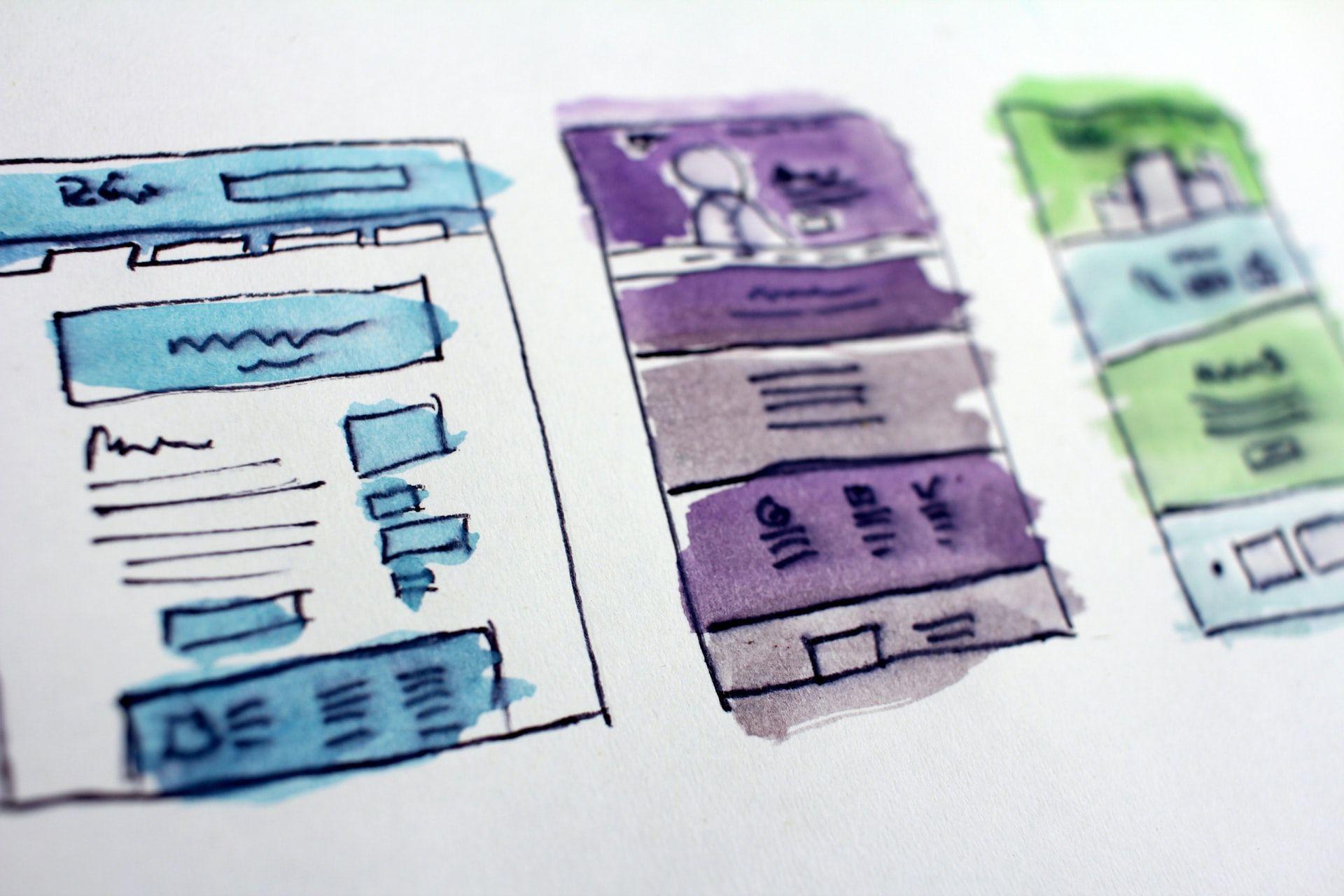 three UX UI design mockups