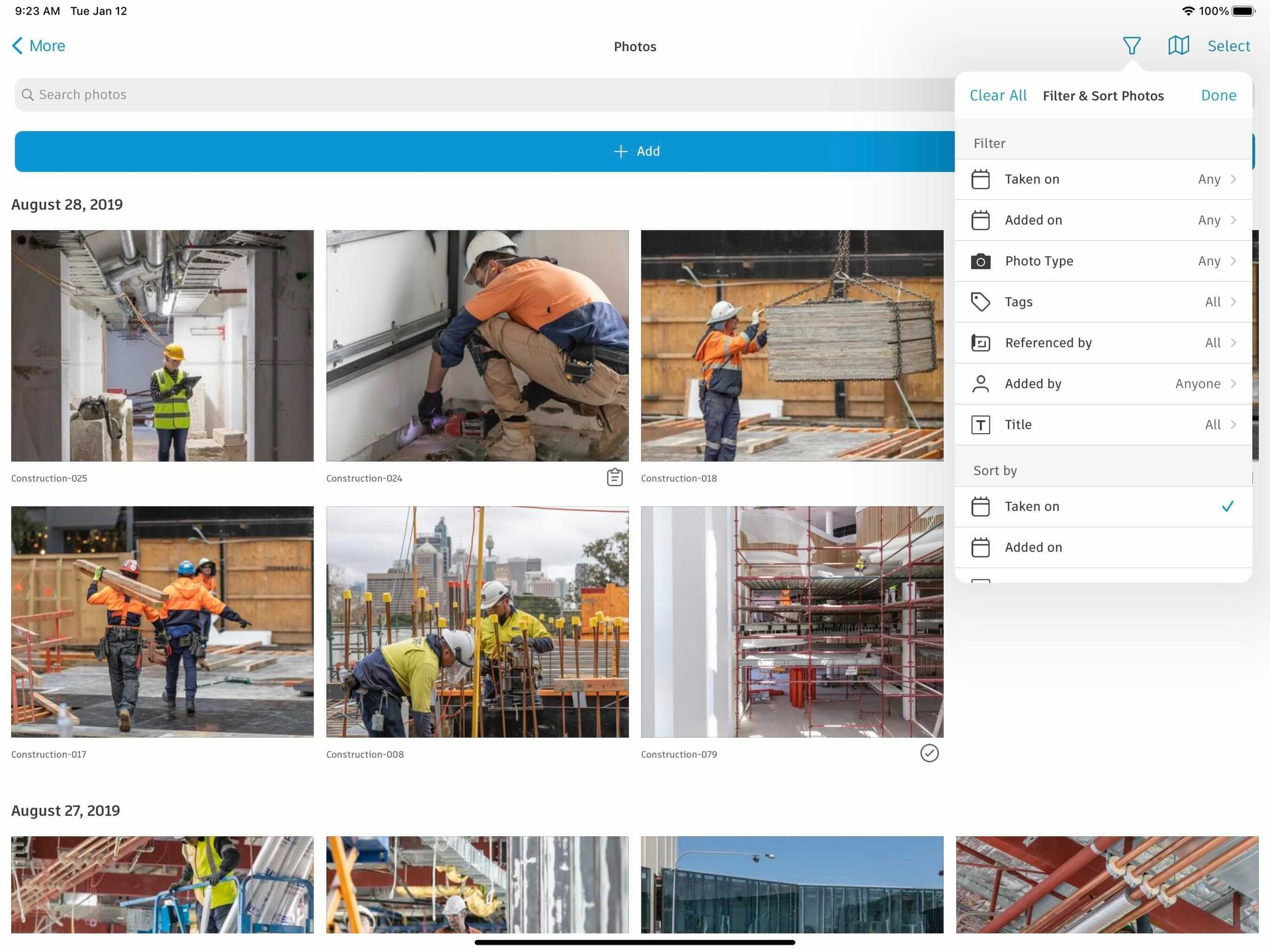 photos of a construction project stored in Photo Management Software for Construction.