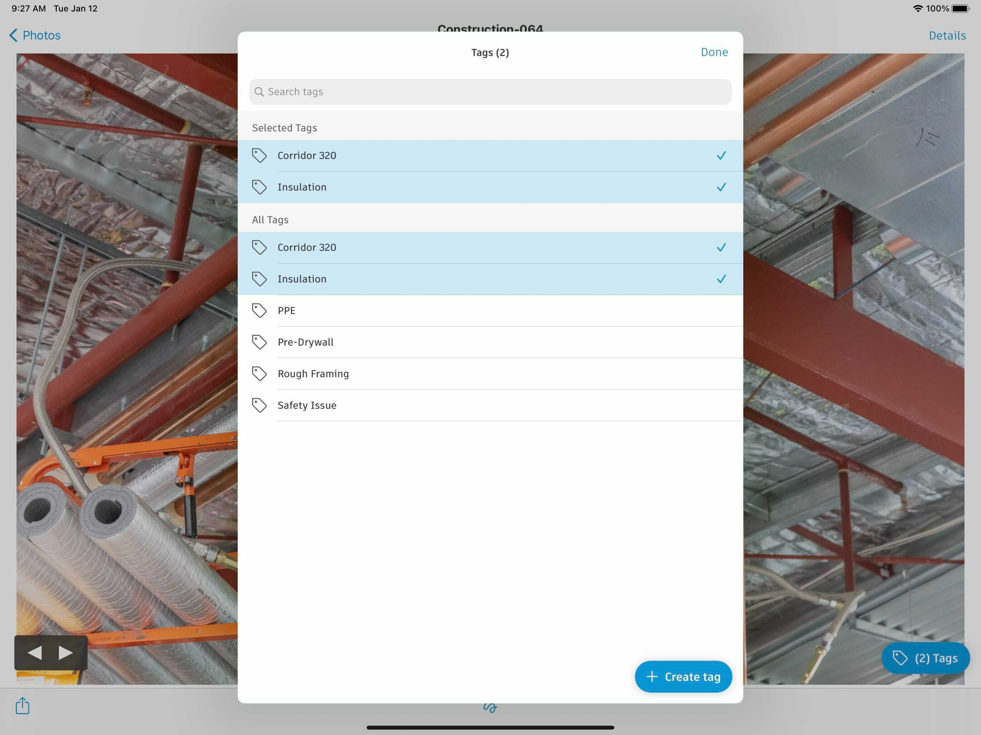 tagging or labeling jobsite photos inPhoto Management Software for Construction.