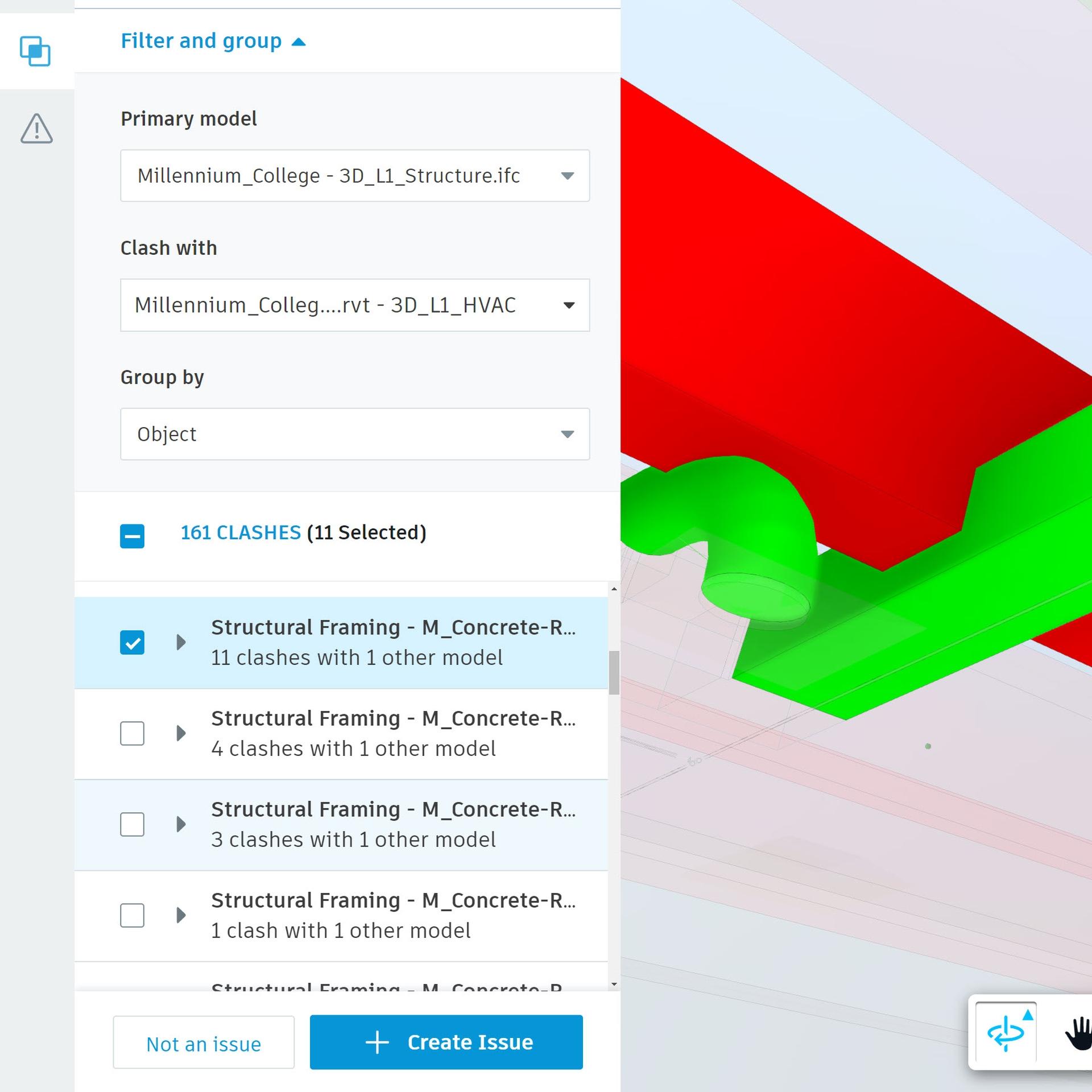 Screenshot of  clash detection software.
