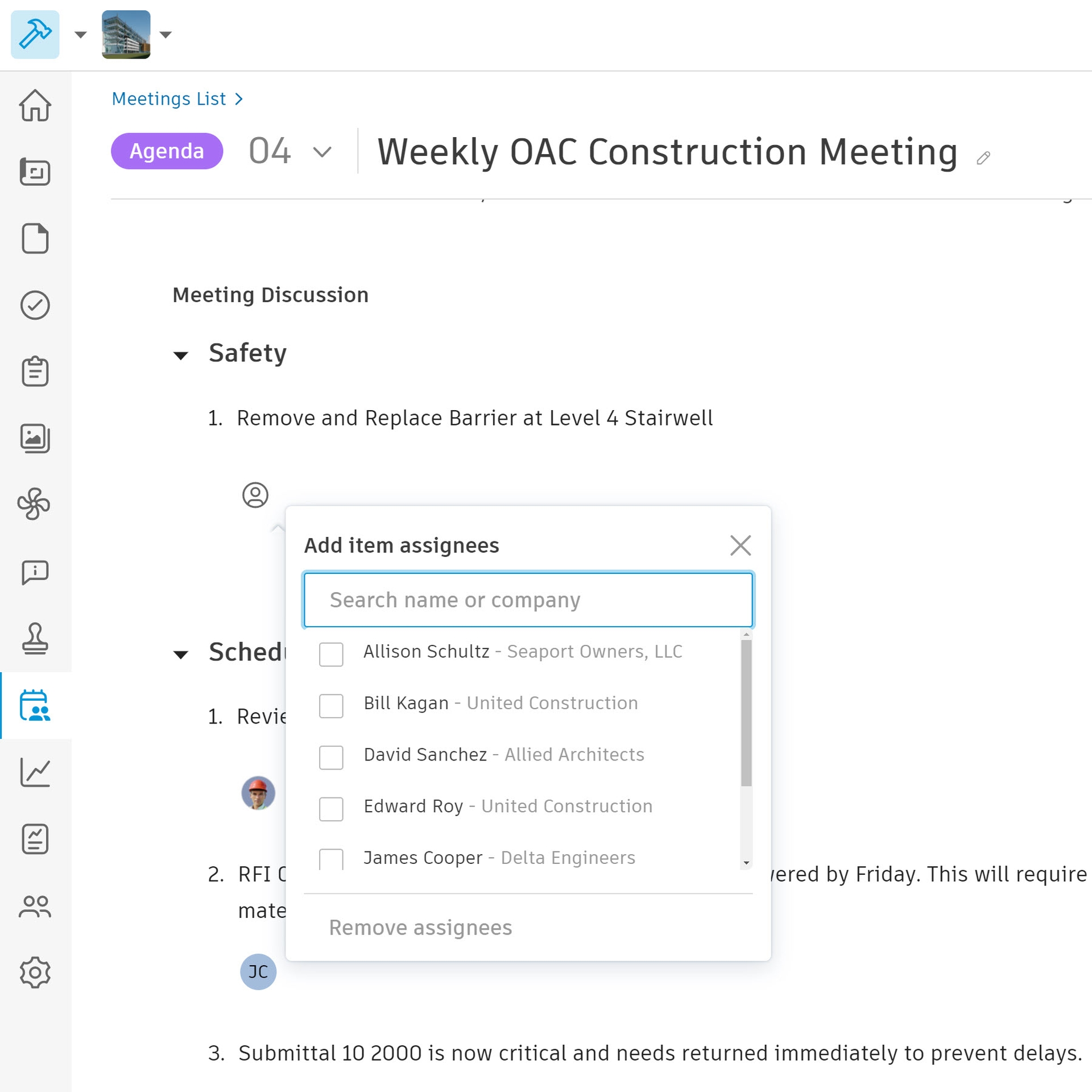 OAC meetings in Construction Meetings Record Software.