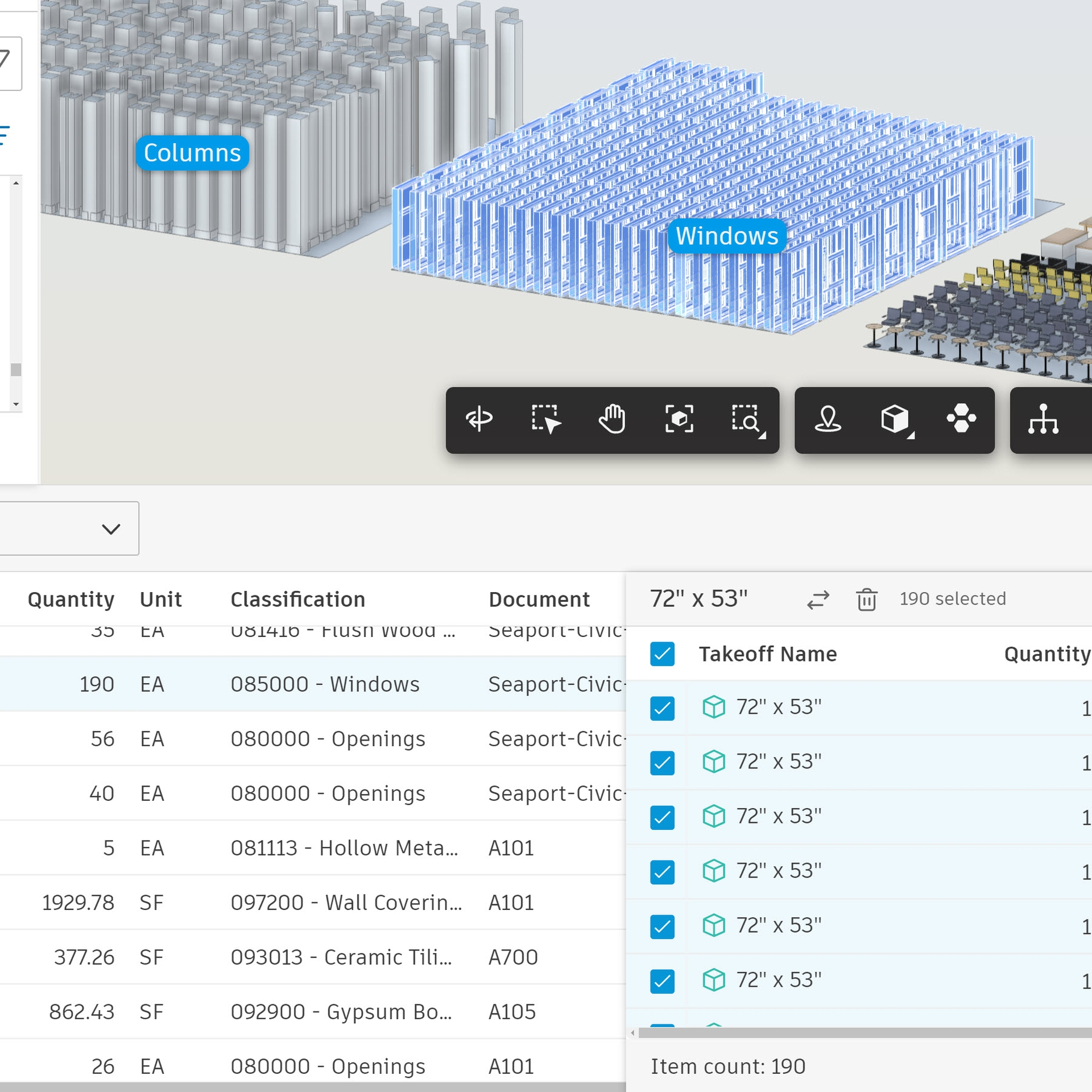 Screenshot of construction takeoff software.