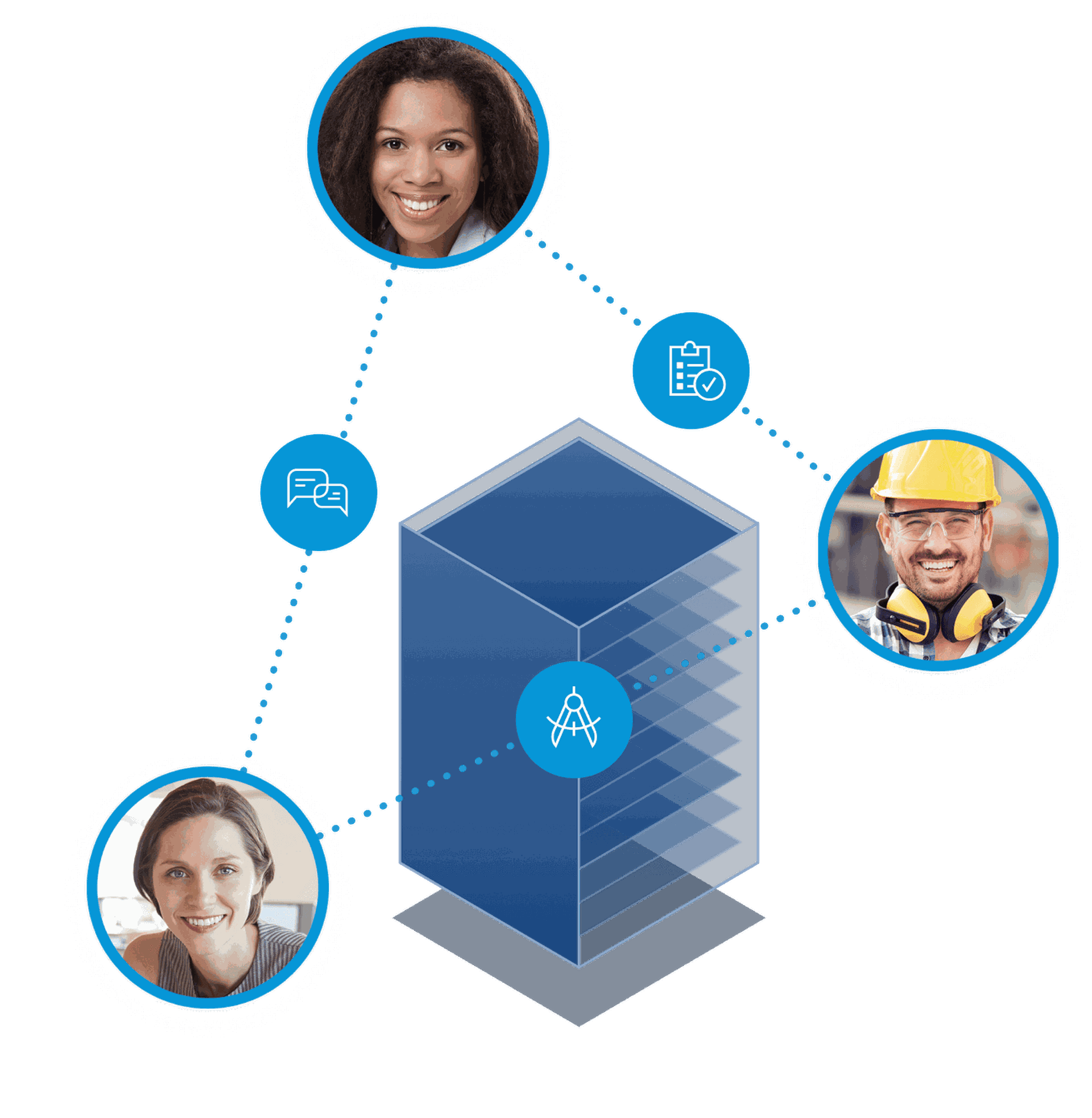 Designs and model coordination helps improve construction. Image of design, construction, and office team-members connected around a schematic building.