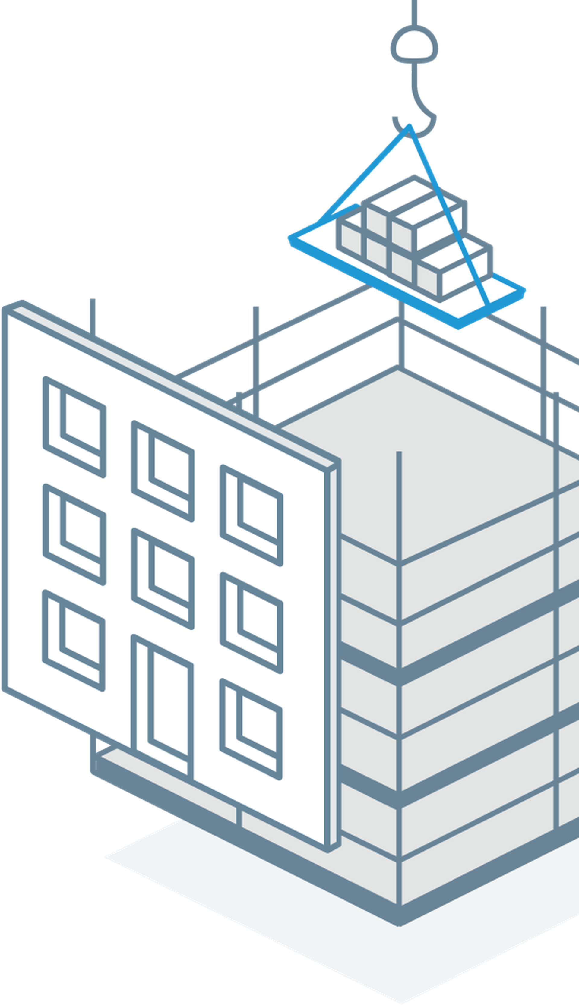 Autodesk Build isometric drawing of a building under construction.