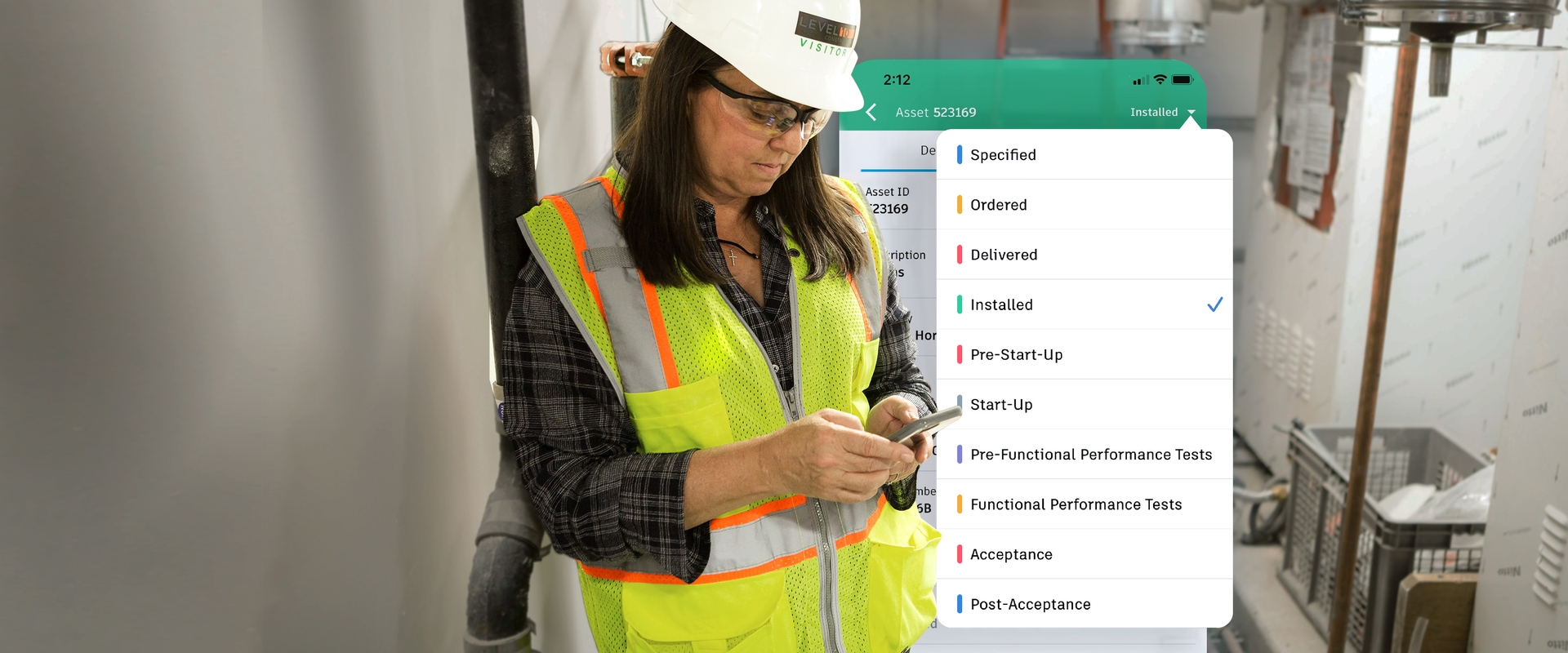 construction worker using ipad