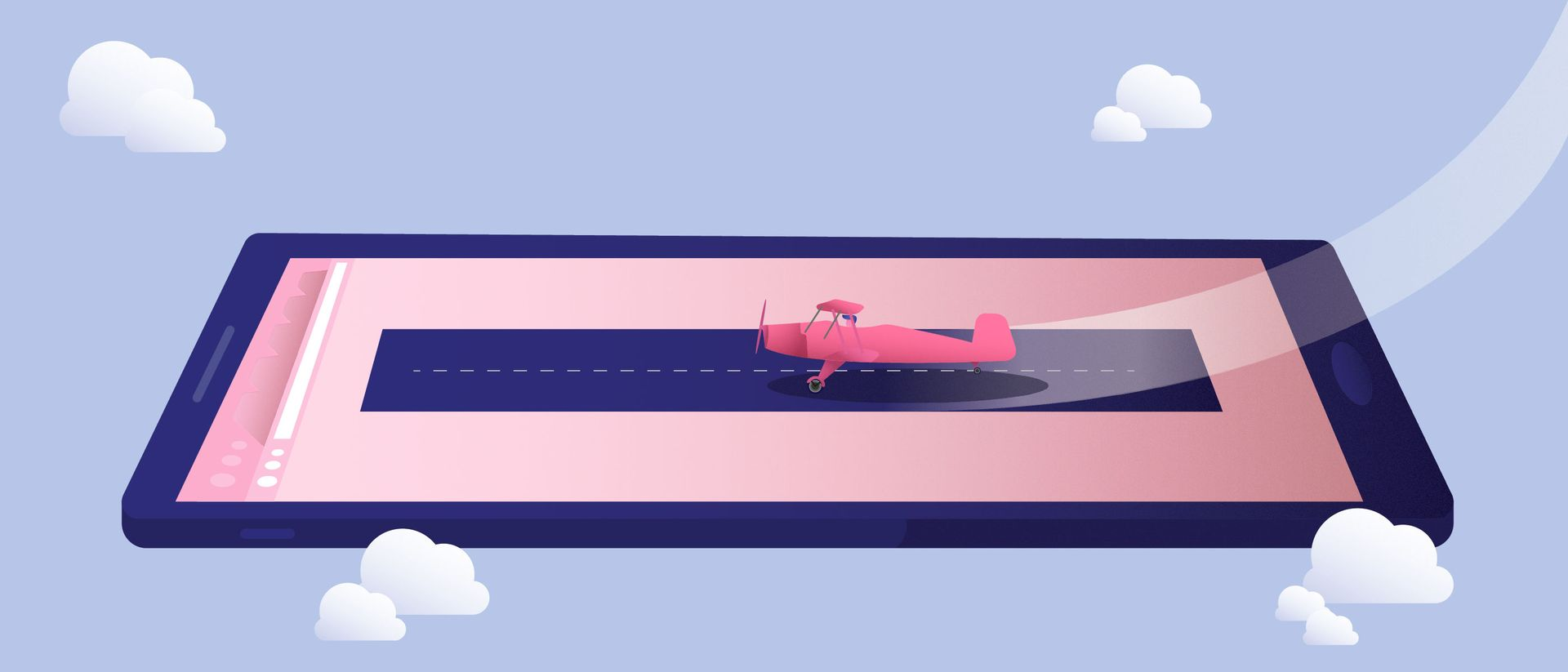 illustration of a plane on a mobile device by Niall Green