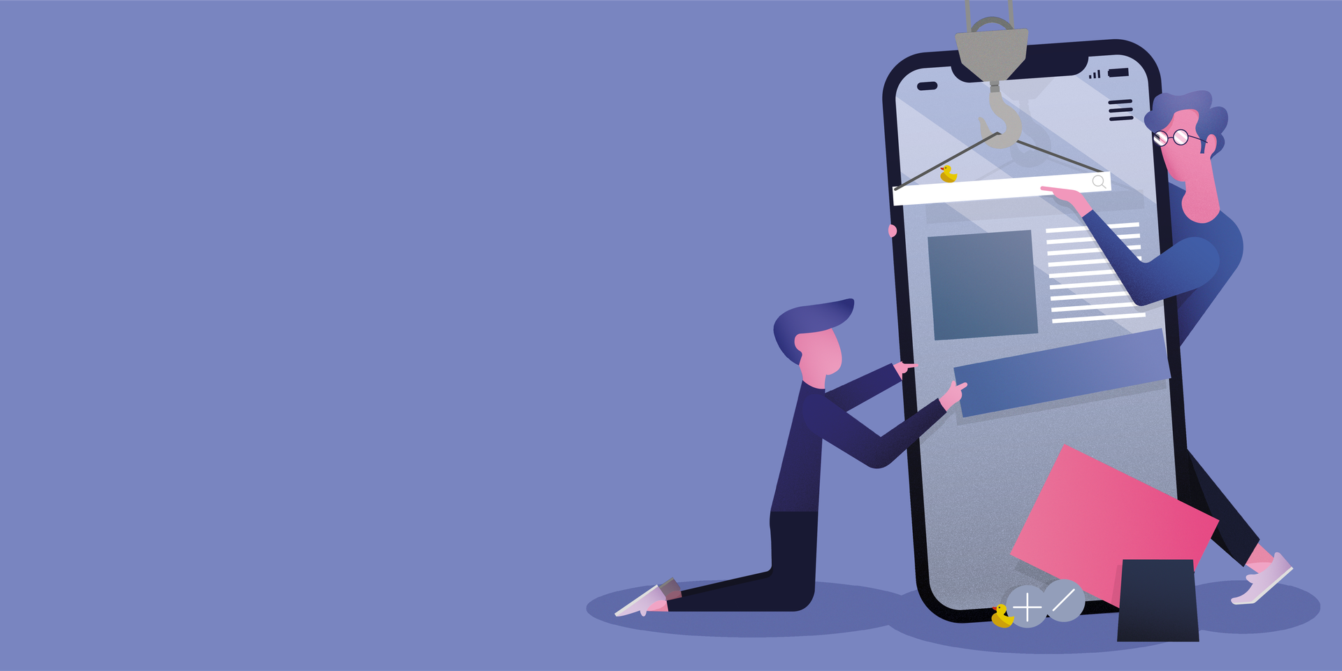 Illustration of two designers fixing the UI of a huge blue phone