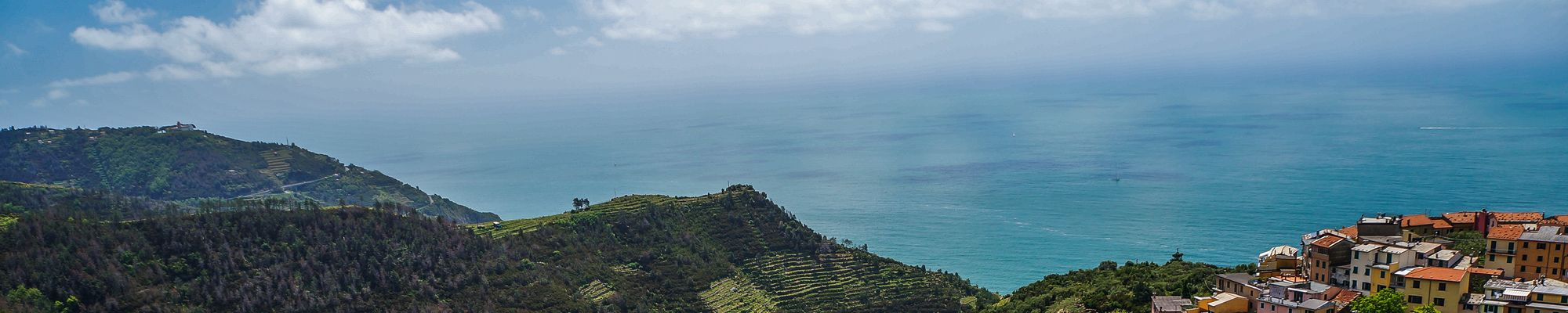 Looking down at Volastra from a terraced vineyard