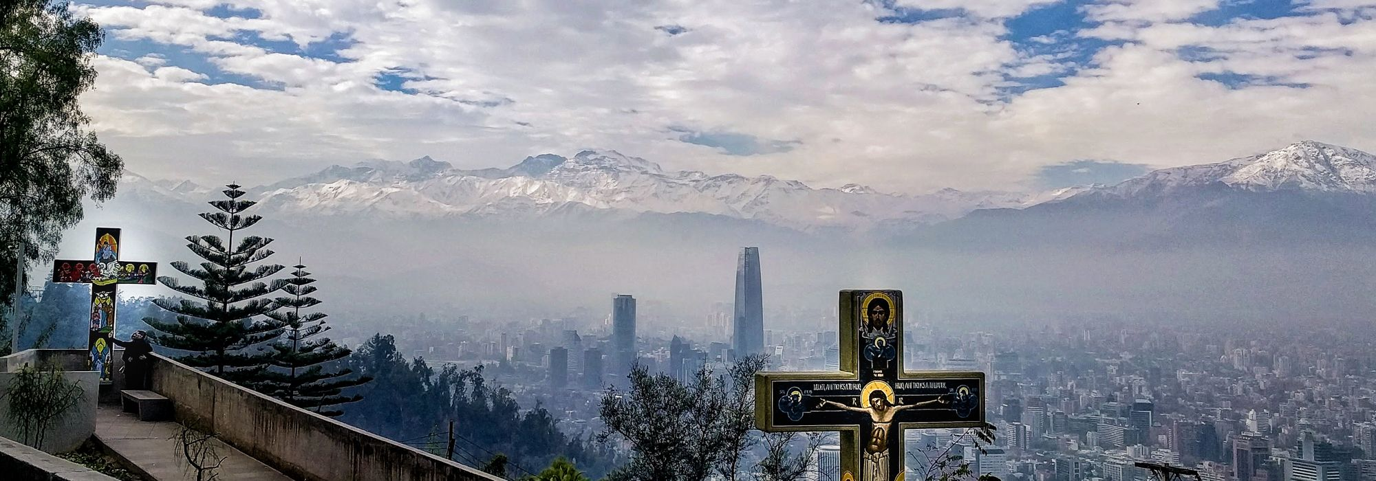 The path up Cerro San Cristobel with a view of Santiago in the background