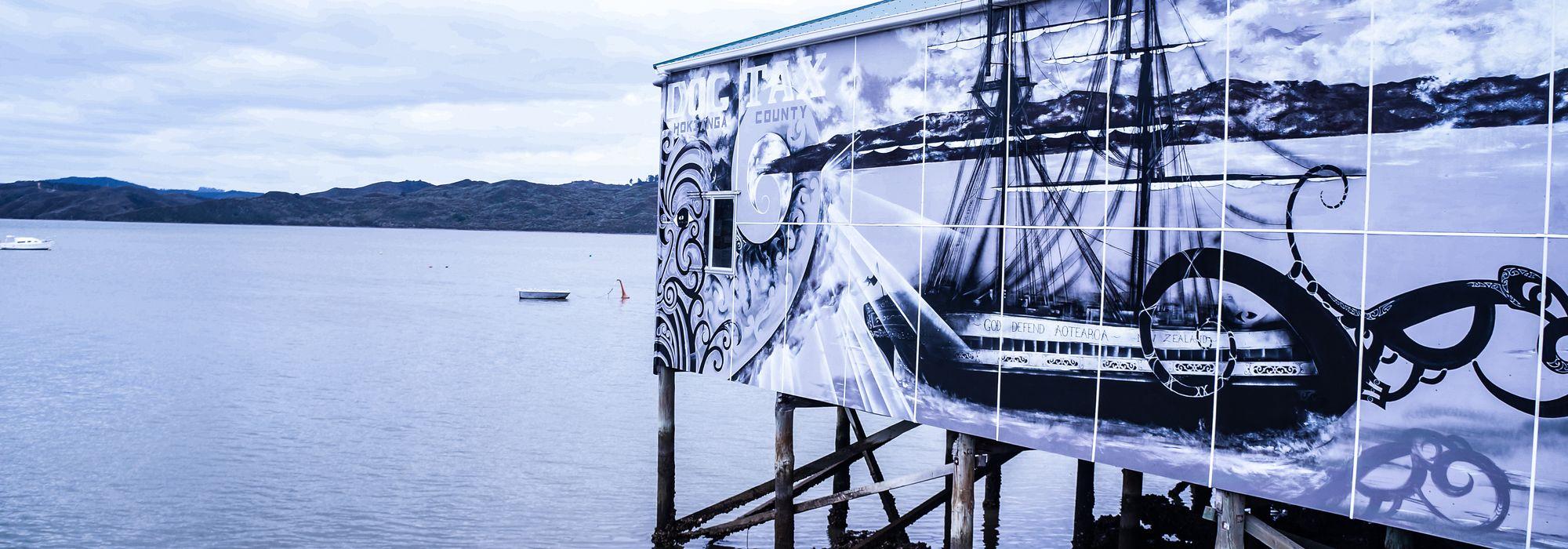 A beautiful mural on a wharf in Rawene