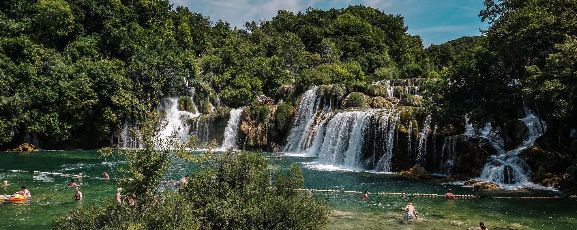 Swimming in the waterfalls at Krka National Park