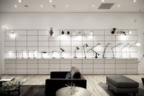 Various lamps are on display along long System 1224 shelves placed against a white paneled wall.