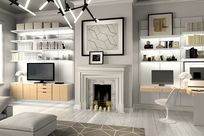 Interior of a gray home. Adjacent to a chimney decorated with candles are both a TV monitor as well as a working desk space, both propped up by white System 1224 shelves against white paneled walls.
