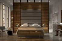 A brown bed is centered in front of a large wooden paneled wall using System 1224 shelves to make up the bed's left and right nightstands.