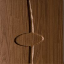 Square brown wooden sample with a line and oval running across the center.