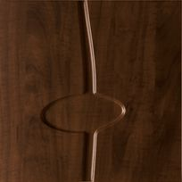 Square dark wooden sample with a line and oval running across the center.