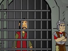 Petrus in de gevangenis, 22 Bijbelplaten voor het digibord, kleuteridee , Bijbelles voor kleuters.