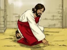 Jezus en de overspelige vrouw , 10 Bijbelplaten voor het digibord, kleuteridee , Bijbelles voor kleuters