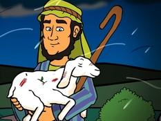Het verloren schaap, 26 Bijbelplaten voor het digibord, kleuteridee.nl , Bijbelles voor kleuters.