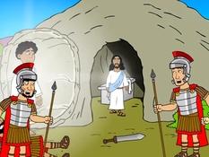 Opstanding van Jezus, 18 Bijbelplaten voor het digibord, kleuteridee.nl , Bijbelles voor kleuters.