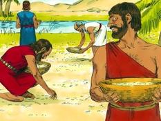Manna en water in de woestijn, 32 Bijbelplaten voor het digibord, kleuteridee.nl , Bijbelles voor kleuters.