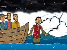 Jezus loopt op het water, 26 Bijbelplaten voor het digibord, kleuteridee.nl , Bijbelles voor kleuters.
