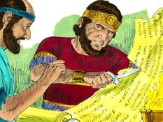 Baruch, Jeremia en Jojakim, 27 Bijbelplaten voor het digibord, kleuteridee.nl , Bijbelles voor kleuters.
