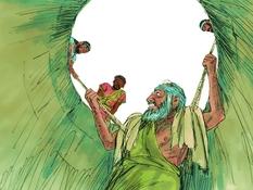 Jeremia gered uit de put, 18 Bijbelplaten voor het digibord, kleuteridee.nl , Bijbelles voor kleuters.