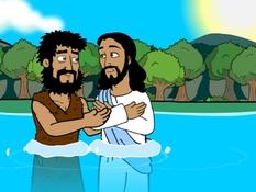 Jezus gedoopt, 16 Bijbelplaten voor het digibord, kleuteridee.nl , Bijbelles voor kleuters.