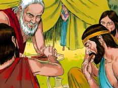 Abraham en de drie vreemdelingen, 22 Bijbelplaten voor het digibord, kleuteridee.nl , Bijbelles voor kleuters.