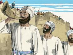 Koning Josafath vraagt God om hulp, 21 Bijbelplaten voor het digibord, kleuteridee.nl , Bijbelles voor kleuters.