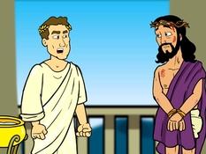 Jezus voor Pilatus, 12 Bijbelplaten voor het digibord, kleuteridee.nl , Bijbelles voor kleuters.