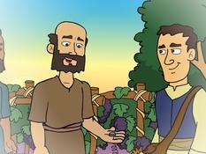 De arbeiders in de wijgaard, gelijkenis, 19 platen, kleuteridee, bijbelplaten voor kleuters