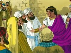 Jezus voor Herodes en Pilatus, 16 Bijbelplaten voor het digibord, kleuteridee.nl , Bijbelles voor kleuters.