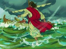 Jezus loopt op het water, 12 Bijbelplaten voor het digibord, kleuteridee.nl , Bijbelles voor kleuters.
