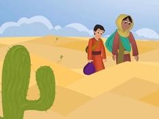 Hagar en Ismaël in de woestijn, 26 Bijbelplaten voor het digibord, kleuteridee.nl , Bijbelles voor kleuters..jpg