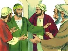 Paulus gewaarschuwd om naar Jeruzalem te gaan, 16 Bijbelplaten voor het digibord, kleuteridee.nl , Bijbelles voor kleuters.